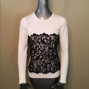 Ann Taylor white/black lace scoop neck sweaters